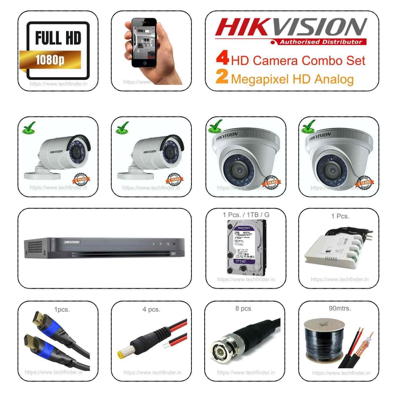 Hikvision 2mp HD 4 Cctv Camera Setup Combo Set