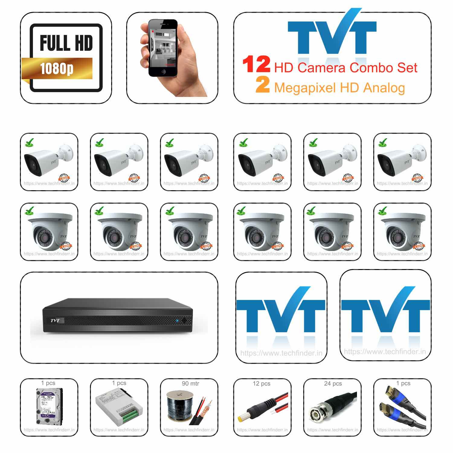 TVT HD 12 Camera Set Combo Kit