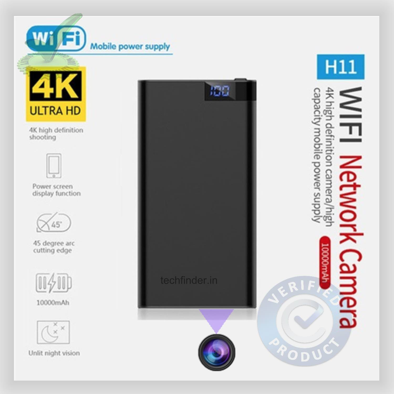 4k WiFi Spy Hidden Camera with Recorder in USB Power Bank