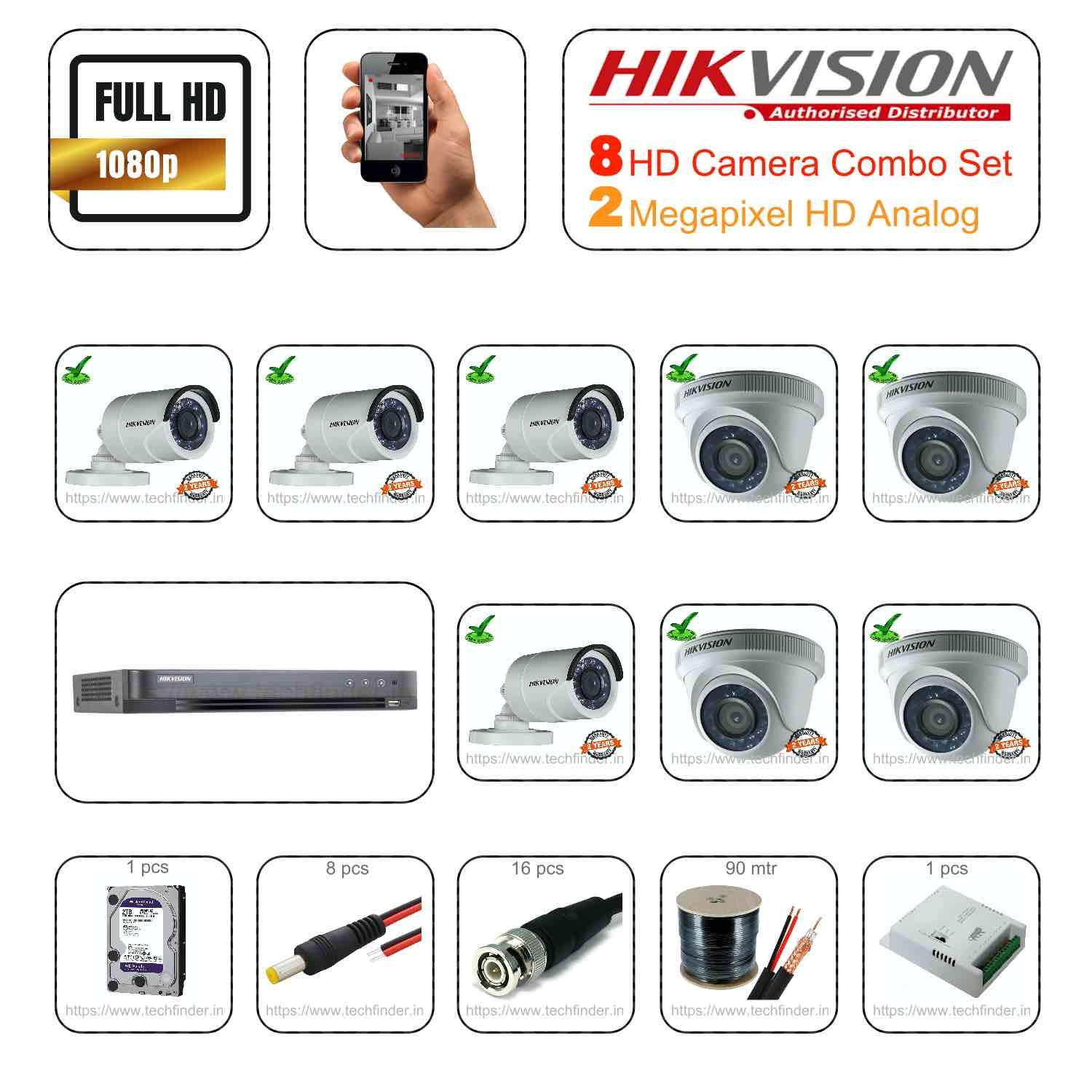 Hikvision 2mp HD 8 CCTV Camera Setup Combo Set