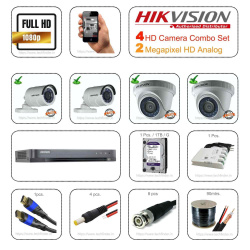 Hikvision 2mp HD 4 Cctv Camera Setup Combo Set