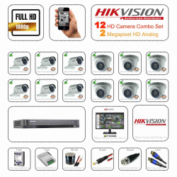 Hikvision 2mp HD 12 CCTV Camera Setup Combo Set