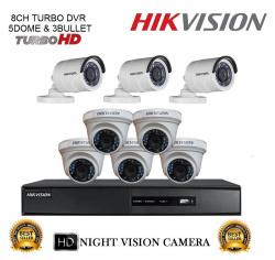 Hikvision 8 Camera Combo 5 Dome Camera 3 Bullet Camera